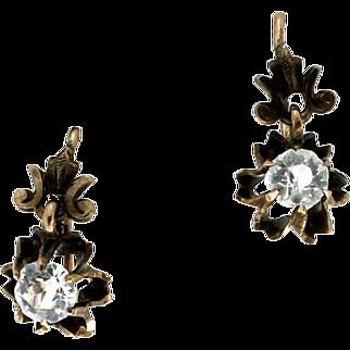 SALE Victorian 14K White Sapphire Dangle Earrings