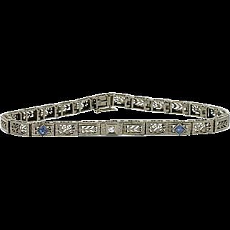 SALE Art Deco 14K/Platinum Synthetic Sapphire & Diamond Bracelet