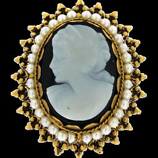 SALE Vintage 14K, Pearl & Stone Cameo Brooch