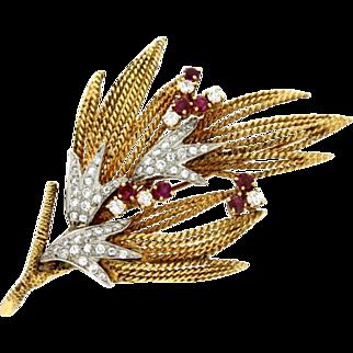 Art Retro 18k Gold, Ruby and Diamond Brooch