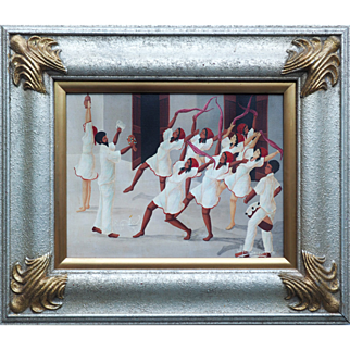 Dancing ceremony vintage oil painting by Joseph Wilfrid Daleus Haiti