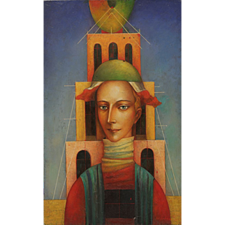 The Tower original oil painting by Russian American artist Mihail Aleksandrov