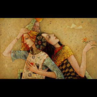 Clowns original oil painting by Mihail Aleksandrov
