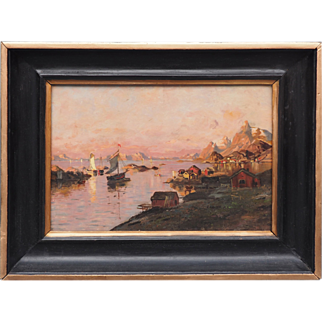 Vastervik Gotaland Sweden waterfront seascape w ships antique painting by Rassmusen
