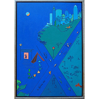Surreal skyscrapers cityscape whimsical outsider art vintage modern painting by Hiro