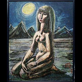 Seated nude woman in a desolate desert night pastel painting by Latvian artist Gunars Vindedzis