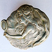 Rare Sterling Art Nouveau Brooch - Woman Looking in Mirror - Circa 1900