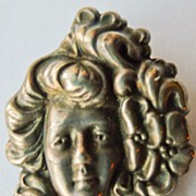 Antique Sterling Silver Art Nouveau Brooch  - Circa 1900