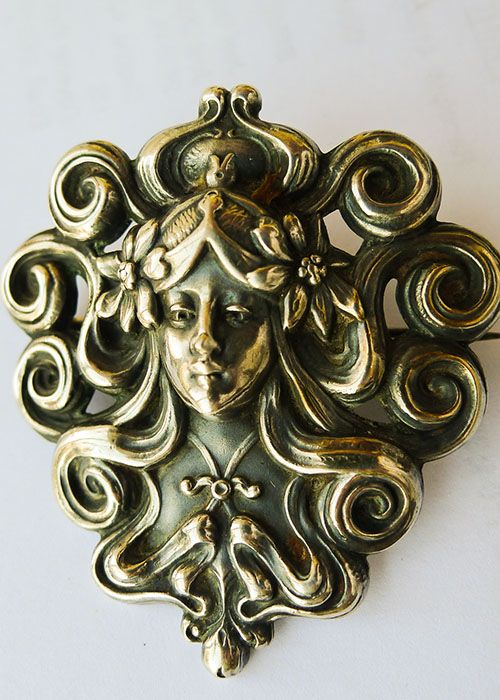 Large Antique Sterling Silver Art Nouveau Brooch - Circa 1900