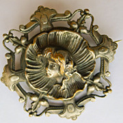 Large Antique French Art Nouveau Silver  Plated Brooch  - Circa 1900