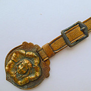 Antique Art Nouveau Fob - Copper & Leather Strap - Circa 1900