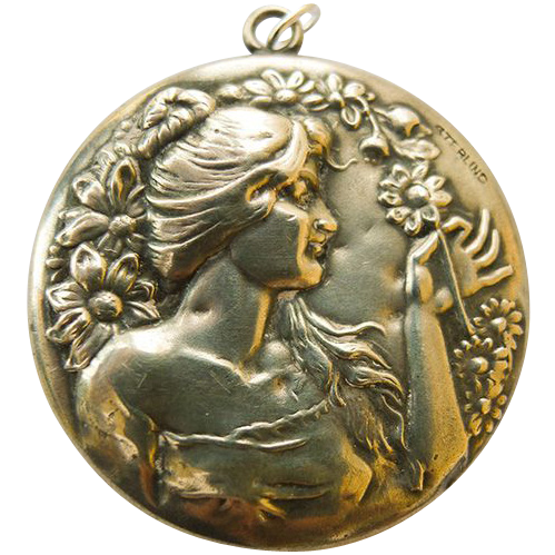 Antique Art Nouveau Sterling Silver Mirror Pendant - Circa 1900