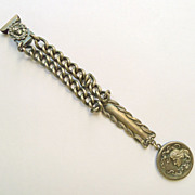 Antique Silver Plate Art Nouveau Belt Clip, Fob and Chain - Circa 1900