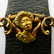 Antique Black Leather Watch Fob - gold Filled Art Nouveau Slide - Circa 1900