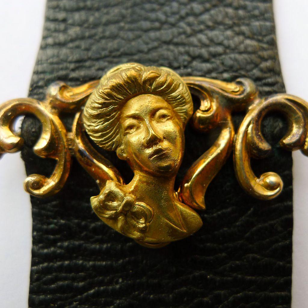 Antique Black Leather Watch Fob - gold Filled Art Nouveau Slide - Circa 1900
