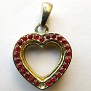Vintage Heart Pendant - with Ruby colored Brilliants