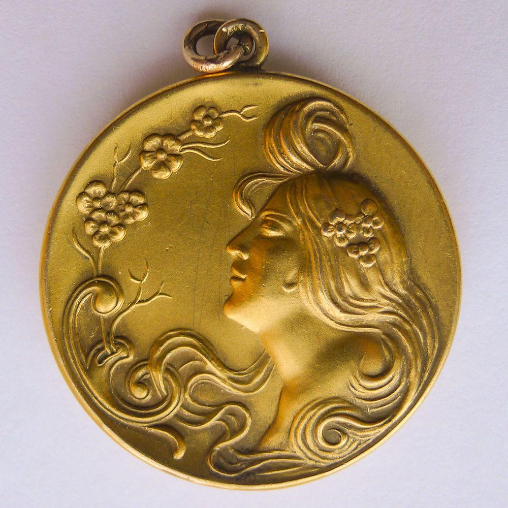 Large Antique Art Nouveau Gold Filled Pendant - Circa 1900