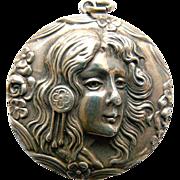 Large Locket - Antique Art Nouveau Sterling Silver Circa 1900