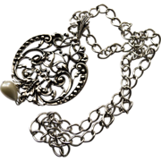 Vintage Art Nouveau Avon Necklace - Silver Plated in like new condition.