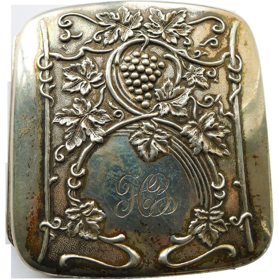 Art Nouveau Cigarette/Card Case Antique Sterling Silver Grapes Design - Circa 1900