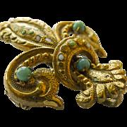 Watch Pin/Brooch 18kt Gold - Antique Art Nouveau with Gem Stones - Circa 1895