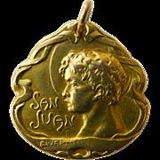 Beautiful 18kt Signed Gold Pendant - Antique Art Nouveau - Dated 1912