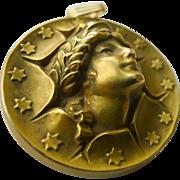 Gold & Diamond Locket Antique Art Nouveau Magnificent - Circa 1900