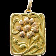 18kt Gold Two Tone Locket Antique Art Nouveau Rare Design - Circa 1900