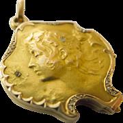 18kt Gold & Diamond Antique Art Nouveau Slide Locket - Circa 1900