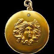 Very Large 14kt Gold & Diamond Locket - Antique Art Nouveau - Mint Condition Circa 1900