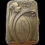 Cigarette/Card Box - Magnificent French Antique Art Nouveau Sterling Silver - Circa 1900