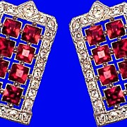 ART DECO Diamante & Ruby Paste Vintage 1930s Clips