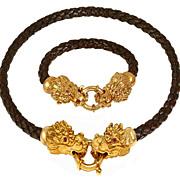 Superlative Chic OTC 18K Yellow Gold Ruby Eyed Dragon Braided Leather Necklace and Bracelet