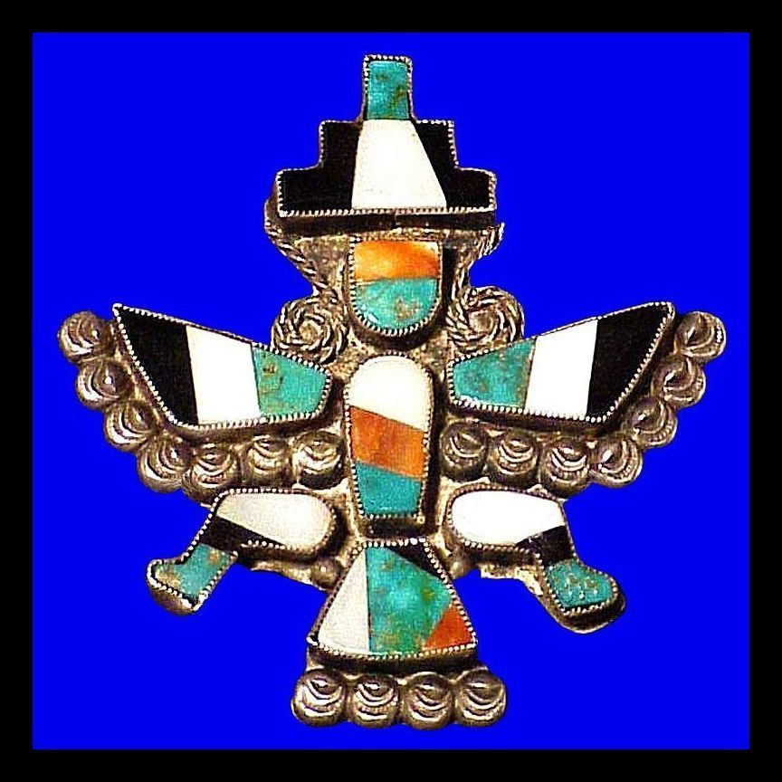 Early Zuni Knifewing Stone on Stone Mosaic Inlay Brooch Vintage 1940s