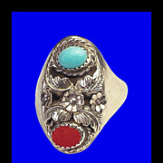 MCNEILLEY Native American Vintage Navajo Sterling Silver Turquoise Coral Ring