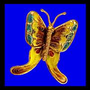 PLIQUE-A-JOUR Butterfly 800 Silver Filigree Enamel Brooch