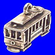 TROLLEY CAR Charm Sterling Silver 3D Vintage 1970s