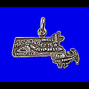 MASSACHUSETTS Sterling Silver State Charm Vintage 1970s