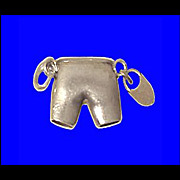 CHASTITY BELT PANTIES Charm Rare 3-D Sterling Silver Vintage 1940s