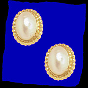 MABE PEARL Gorgeous 14K Gold Fluted Edge Earrings