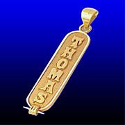 THOMAS 14K GOLD Egyptian Hieroglyph Cartouche Pendant