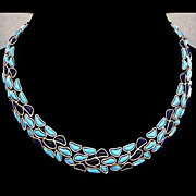 TRIFARI Rare Modern Mosaics Blue French Glass Collar Necklace