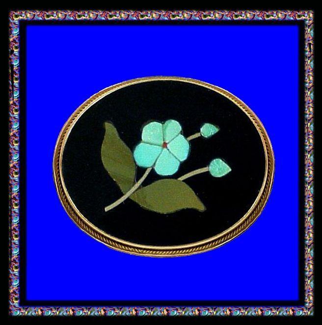 FORGET ME NOT 18K Gold Florentine Mosaic Pietra Dura Pin