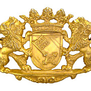 MIRIAM HASKELL Bold Brilliant Beautiful Vintage Lion Crown Crest Goldtone Brooch Pin