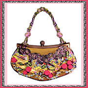 MARY FRANCES Fabulously Fanciful Berries on Vine Hand Beaded Mixed Media Purse Shoulder Bag