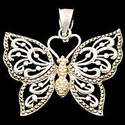 PLIQUE-A-JOUR Antique Italian Art Nouveau 800 Silver Filigree Enamel Butterfly Pin Brooch