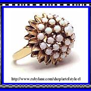Gorgeous 14K Gold Precious White Opal Princess Ring