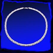 """14K White Gold 7mm Byzantine 17"""" Necklace"""