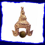 14K Gold Thai Headdress Black Star Sapphire Pin