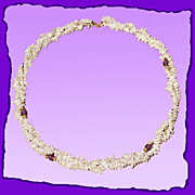 Elegant Delicate Dual Strand Keshi Pearl 14K Gold Amethyst Necklace - Wedding Jewelry